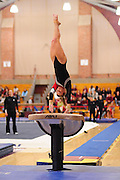 January 17, 2010; Stanford, CA, USA; Stanford Cardinal gymnast Blair Ryland performs on the vault during the meet against the Arizona Wildcats at Burnham Pavilion. The Cardinal defeated the Wildcats 196.025-194.675. Mandatory Credit: Kyle Terada-Terada Photo