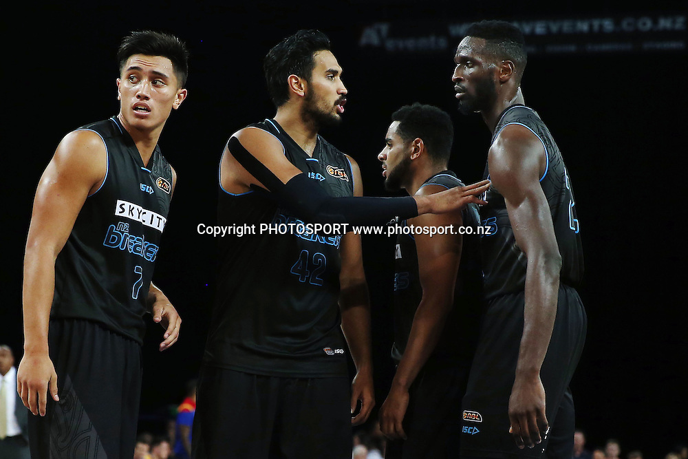 Tai Wesley of the Breakers cheers on teammate Ekene Ibekwe. 2014/15 ANBL, SkyCity Breakers vs Adelaide 36ers, Vector Arena, Auckland, New Zealand. Thursday 12 February 2015. Photo: Anthony Au-Yeung / www.photosport.co.nz