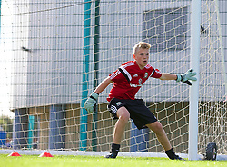 NEWPORT, WALES - Wednesday, September 24, 2014: Wales' goalkeeper George Ratcliffe training at Dragon Park ahead of the Under-16's International Friendly match against France. (Pic by David Rawcliffe/Propaganda)