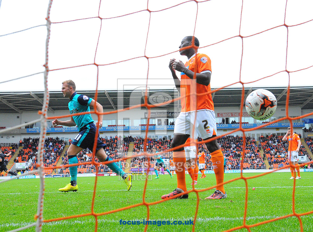 Jordan Rhodes of Blackburn Rovers (left) celebrates after Rudy Gestede of Blackburn Rovers ( not pictured here) scored his team's second goal during the Sky Bet Championship match at Bloomfield Road, Blackpool<br /> Picture by Greg Kwasnik/Focus Images Ltd +44 7902 021456<br /> 16/08/2014
