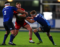 Will Hurrell of Bristol United is tackled by Michael Bent, left, and Peadar Timmins of Leinster - Mandatory by-line: Ken Sutton/JMP - 15/12/2017 - RUGBY - Donnybrook Stadium - Dublin,  - Leinster 'A' v Bristol United -