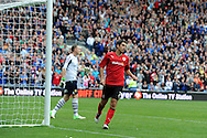 Cardiff city's Peter Whittingham celebrates after he scores the 2nd goal from a penalty. NPower championship, Cardiff city v Leeds United at the Cardiff city stadium in Cardiff, South Wales on Sat 15th Sept 2012.   pic by  Andrew Orchard, Andrew Orchard sports photography,