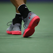 2017 U.S. Open Tennis Tournament - DAY TWO. The feet of Rafael Nadal of Spain in action against Dusan Lajovic of Serbia during the Men's Singles round one match at the US Open Tennis Tournament at the USTA Billie Jean King National Tennis Center on August 29, 2017 in Flushing, Queens, New York City.  (Photo by Tim Clayton/Corbis via Getty Images)