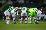 Captain Stuart Armstrong speaks to the Celtic team in the 'huddle' - Celtic v Dundee in the Ladbrokes Scottish Premiership at Celtic Park, Glasgow. Photo: David Young<br /> <br />  - &copy; David Young - www.davidyoungphoto.co.uk - email: davidyoungphoto@gmail.com