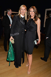 Left to right, TANIA BRYER and ELIZABETH HURLEY at the Christie's Conservation Lectures in aid of Tusk held atChristie's, 8 King Street, London on 30th April 2014.