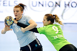 Sanja Vrcek of ZRK Z Dezele vs Nina Zabjek of RK Ljubljana during handball match between RK Ljubljana and ZRK Z Dezele in Bronze Medal game of Slovenian Women Handball Cup 2017/18, on April 1, 2018 in Park Kodeljevo, Ljubljana, Slovenia. Photo by Matic Klansek Velej / Sportida