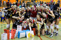 Players of Nova KBM Branik celebrate after winning during volleyball match between Nova KBM Branik Maribor and OK Luka Koper in Final of Women Slovenian Cup 2014/15, on January 18, 2015 in Sempeter v Savinjski dolini, Slovenia. Photo by Vid Ponikvar / Sportida