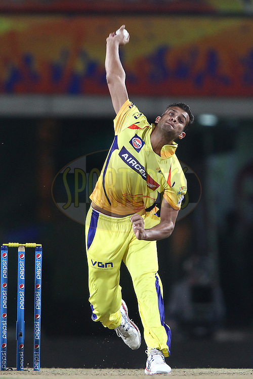 Ishwar Pandey of The Chennai Super Kings sends down a delivery during match 21 of the Pepsi Indian Premier League Season 2014 between the Chennai Superkings and the Kolkata Knight Riders  held at the JSCA International Cricket Stadium, Ranch, India on the 2nd May  2014<br /> <br /> Photo by Shaun Roy / IPL / SPORTZPICS<br /> <br /> <br /> <br /> Image use subject to terms and conditions which can be found here:  http://sportzpics.photoshelter.com/gallery/Pepsi-IPL-Image-terms-and-conditions/G00004VW1IVJ.gB0/C0000TScjhBM6ikg