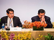 "29 MAY 2015 - BANGKOK, THAILAND:  H.E. General TANASAK PATIMAPRAGORN, (right), Deputy Prime Minister and Minister of Foreign Affairs of Thailand greets delegates during the opening of the ""Special Meeting on Irregular Migration in the Indian Ocean."" Thailand organized and hosted the meeting at the Anantara Siam Hotel in Bangkok. The meeting brought together representatives from the 5 countries impacted by the boat people exodus: Thailand, Malaysia and Indonesia, which have all received boat people, and Myanmar (Burma) and Bangladesh, where they are coming from. Non-governmental organizations, like the International Organization for Migration (IOM) and UN High Commissioner for Refugees (UNHCR) as well as countries responding to the crisis, like the United States, also attended the meeting. A total of 22 organizations attended the one day conference.     PHOTO BY JACK KURTZ"