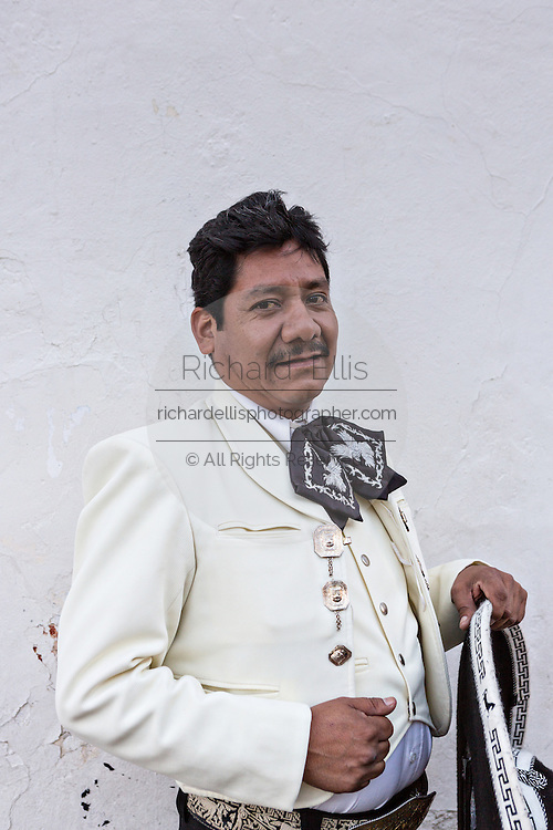 Portrait of a Mexican mariachi dressed in traditional charro costume November 5, 2013 in Oaxaca, Mexico.
