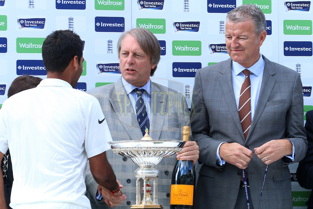 Bhuvaneshwar Kumar of India is the man of the series during day three of the fifth Investec Test Match between England and India held at The Kia Oval cricket ground in London, England on the 17th August 2014<br /> <br /> Photo by Ron Gaunt / SPORTZPICS/ BCCI