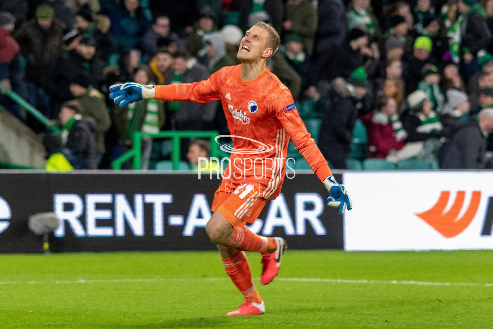 Karl-Johan Johnsson of FC Copenhagen celebrates his teams win during the Europa League match between Celtic and FC Copenhagen at Celtic Park, Glasgow, Scotland on 27 February 2020.