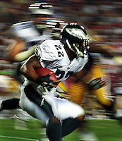 Philadelphia Eagles' running back Duce Staley looks to work the ball upfield during their Sept. 16 game at the Washington Redskins. The Eagles, who beat Washington 37-7, will host Tampa Bay at 3 p.m. Sunday for the NFC championship game at Veterans Stadium.