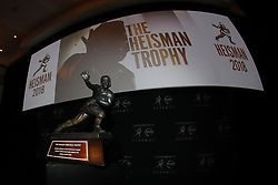 December 7, 2018 - New York, NY, U.S. - NEW YORK, NY - DECEMBER 07: The Heisman Trophy on display at the New York Stock Exchange on December 7, 2018 at the New York Stock Exchange in New York, NY.  (Photo by Rich Graessle/Icon Sportswire) (Credit Image: © Rich Graessle/Icon SMI via ZUMA Press)