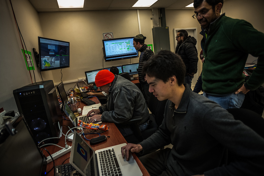 PICO DE ORIZABA NATIONAL PARK, PUEBLA, MEXICO - MARCH 25, 2015: Scientists monitor data readings inside the control room of the Large Millimeter Telescope while working to connect the LMT to several other telescopes around the world to make one large telescope called the Event Horizon Telescope, as large as the earth that the team hopes will have the capacity to make the first image of the black hole.   CREDIT: Meridith Kohut for The New York Times