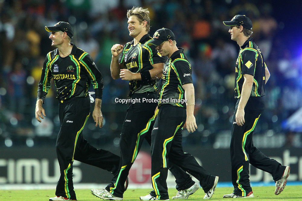 Shane Watson celebrates the wicket of Yuvraj Singh during the ICC World Twenty20 Super 8s match between Australia and India held at the Premadasa Stadium in Colombo, Sri Lanka on the 28th September 2012<br /> <br /> Photo by Ron Gaunt/SPORTZPICS