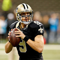 Dec 7, 2014; New Orleans, LA, USA; New Orleans Saints quarterback Drew Brees (9) before a game against the Carolina Panthers at the Mercedes-Benz Superdome. Mandatory Credit: Derick E. Hingle-USA TODAY Sports
