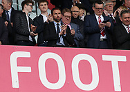 Gareth Southgate, the England manager in the stand prior to the Premier League match between Stoke City and West Ham United at the Bet 365 Stadium, Stoke-on-Trent.<br /> Picture by Michael Sedgwick/Focus Images Ltd +44 7900 363072<br /> 29/04/2017