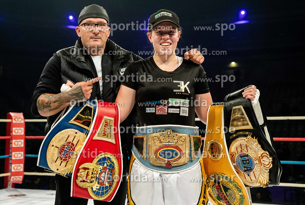 Ema Kozin of Slovenia celebrates with coach Rudolf Pavlin after winning against Maria Lindberg of Sweden during their WBC, IBO, IBA, WBF and WIBA supermiddleweight World Championship titles fight, on October 6, 2019 in Arena Stozice, Ljubljana, Slovenia. Photo by Vid Ponikvar / Sportida