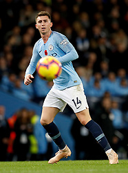 """Manchester City's Aymeric Laporte   during the Premier League match at the Etihad Stadium, Manchester. PRESS ASSOCIATION Photo. Picture date: Sunday November 11, 2018. See PA story SOCCER Man City. Photo credit should read: Martin Rickett/PA Wire. RESTRICTIONS: EDITORIAL USE ONLY No use with unauthorised audio, video, data, fixture lists, club/league logos or """"live"""" services. Online in-match use limited to 120 images, no video emulation. No use in betting, games or single club/league/player publications."""