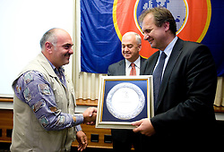 Award Plaketa NZS for year 2009 of Slovenian football federation (NZS) for 75 Years of NK Sava Kranj given by president of NZS Ivan Simic (R), on May 7, 2009, in Hotel Kokra, Brdo at Kranj, Slovenia.  (Photo by Vid Ponikvar / Sportida)