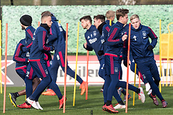 (L-R) Lasse Schone of Ajax, Noa Lang of Jong Ajax, Klaas Jan Huntelaar of Ajax, Maximilian Wöber of Ajax, Frenkie de Jong of Ajax, Donny van de Beek of Ajax during the trainings session of Ajax Amsterdam at the Toekomst on January 30, 2018 in Amsterdam, The Netherlands