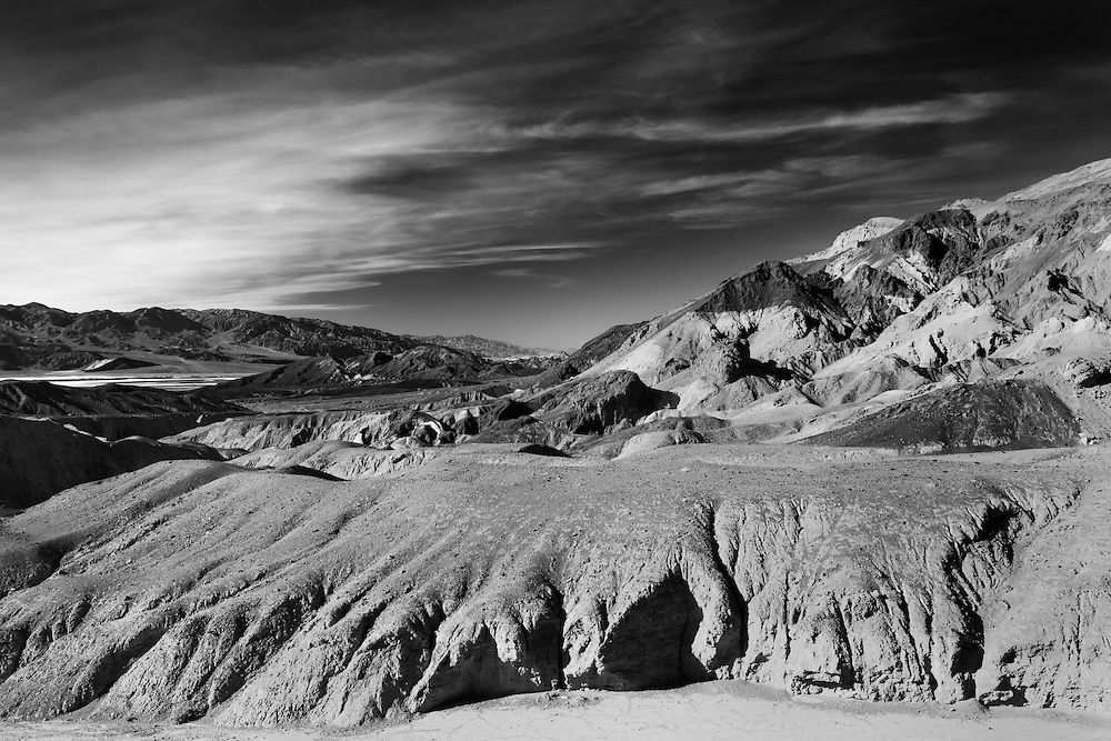 Painted Hills And Distant Salt Flats - Death Valley, CA - Black & White
