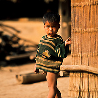 Yao Hill Tribe boy missing pants, Muang Singh, Laos