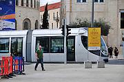 Israel, Jerusalem The newly constructed Light Train rapid urban transport system