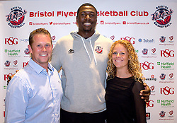 Daniel Edozie of Bristol Flyers poses with sponsors - Mandatory by-line: Robbie Stephenson/JMP - 12/09/2016 - BASKETBALL - Ashton Gate Stadium - Bristol, England - Bristol Flyers Sponsors Event