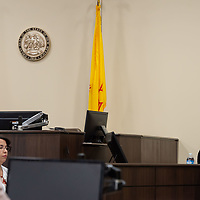 Hannah Jordan, right, is questioned by the defense counsel as Judge James Sanchez, left, takes notes on Monday afternoon of the Green trial at the 13th Judicial District Courthouse in Grants.