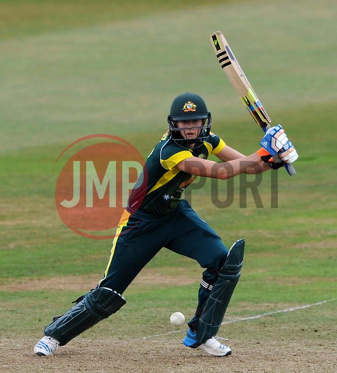 Australia's Ellyse Perry cuts the ball. - Photo mandatory by-line: Harry Trump/JMP - Mobile: 07966 386802 - 21/07/15 - SPORT - CRICKET - Women's Ashes - Royal London ODI - England Women v Australia Women - The County Ground, Taunton, England.
