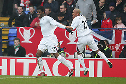 BOLTON, ENGLAND - MONDAY, JANUARY 2nd, 2006: Bolton Wanderers' Radhi Jadi celebrates scoring the opening goal against Liverpool with his team-mate El Hadji Diouf during the Premiership match at the Reebok Stadium. (Pic by David Rawcliffe/Propaganda)