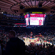 January 9, 2018, New York, NY : Basketball fans collect their belongings and leave Madison Square Garden at the conclusion of Tuesday night's matchup between the Hoyas and Red Storm. In something of a rematch of their 1985 contest, Basketball greats Patrick Ewing and Chris Mullin returned to Madison Square Garden on Tuesday night to face off as coaches with their respective Georgetown and St. John's teams.  CREDIT: Karsten Moran for The New York Times