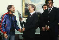 Willy Nelson presents President Jimmy Carter with the first  Special Award from the Country Music Association.<br /> Photo by Dennis Brack<br /> <br /> by Dennis Brack