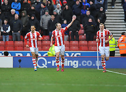 Stoke City's Charlie Adam celebrates. - Photo mandatory by-line: Alex James/JMP - Tel: Mobile: 07966 386802 01/02/2014 - SPORT - FOOTBALL - Britannia Stadium - Stoke-On-Trent - Stoke v Manchester United - Barclays Premier League