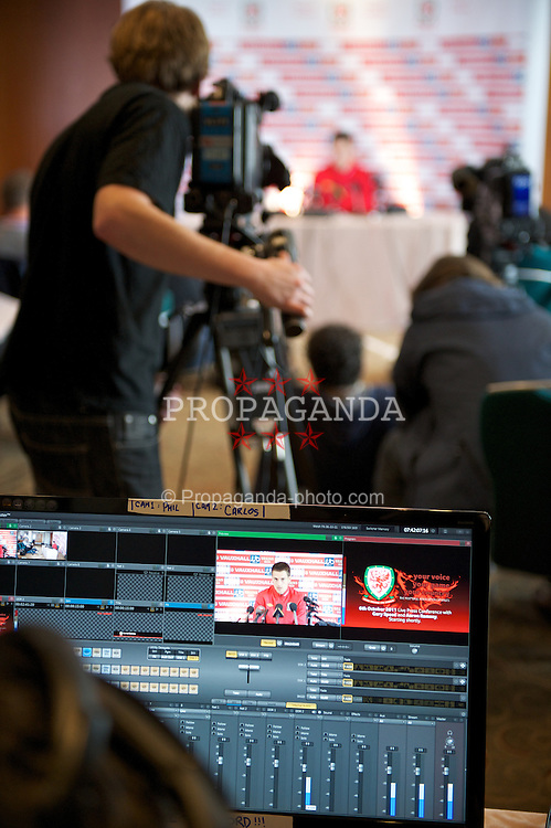 CARDIFF, WALES - Thursday, October 6, 2011: Wales' captain Aaron Ramsey's press conference is broadcast live on the internet via the FAW's web site from the St. David's Hotel ahead of the UEFA Euro 2012 Qualifying Group G match against  Switzerland. (Pic by David Rawcliffe/Propaganda)