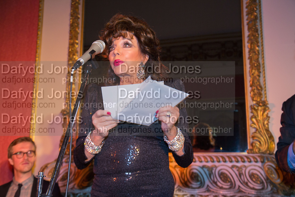 JOAN COLLINS, The Literary Review Bad Sex in Fiction Award 2013. The In and Out Club, 4 St. james's Sq. London. 3 December 2013