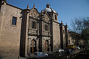 View of the Palacio Clavijero, a Baroque style building in Morelia, Michoacan state Mexico. The city is a UNESCO World Heritage Site and hosts on of the best preserved collection of Spanish Colonial architecture in the world. The Baroque building dating from the mid-seventeenth century was originally the seat of the Jesuit College of San Francisco Javier.