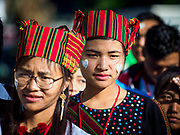 30 NOVEMBER 2017 - YANGON, MYANMAR: People in traditional clothing in line to get into the Papal Mass at St. Mary's Cathedral in Yangon. Thursday's mass was his last public appearance in Myanmar. From Myanmar the Pope went on to neighboring Bangladesh.    PHOTO BY JACK KURTZ