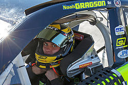 ROSEBURG, OR - AUGUST 27: Noah Gragson driver of the #7 Alert I.D./Speed Vegas/Colliers International Ford sits in his car during practice for the NASCAR K&N Pro Series West Toyota/NAPA Auto Parts 150 at the Douglas County Speedway on August 27, 2016 in Roseburg, Oregon. (Photo by Jason O. Watson/NASCAR via Getty Images) *** Local Caption *** Noah Gragson