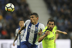 April 8, 2018 - Porto, Aveiro, Portugal - Porto's Brazilian forward Soares (L) with Aves´s Portuguese defender Pedrinho (R) during the Premier League 2017/18 match between FC Porto v CD Aves, at Dragao Stadium in Porto on April 8, 2018. (Credit Image: © Dpi/NurPhoto via ZUMA Press)