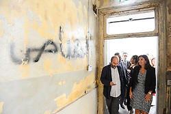 "L-R : architect Youssef Haidar and Paris Mayor Anne Hidalgo visit the ""Beit Beirut"" foundation and museum, also known as ""La Maison jaune"" or ""The Yellow House"", in Beirut, Lebanon, on September 29, 2016. ""Beit Beirut"" is a project that is helped and funded by Paris City to keep a place for the memory of Beirut and of Lebanon's civil war (1975-1990) in this building once located on the ""green line"" that used to separate the city in two parts. Photo by Balkis Press/ABACAPRESS.COM"
