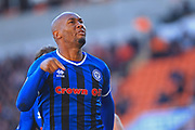 GOAL Calvin Andrew celebrates equalising for Rochdale 2-2 during the EFL Sky Bet League 1 match between Blackpool and Rochdale at Bloomfield Road, Blackpool, England on 6 October 2018.