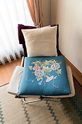 cushion with Morning Glory flower design