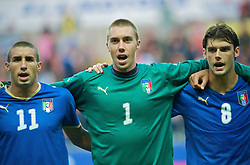 SWANSEA, ENGLAND - Friday, September 4, 2009: Italy's Antonino Barilla, goalkeeper Vincenzo Fiorllo and Andrea Poli sing the national anthem before the UEFA Under 21 Championship Qualifying Group 3 match against Wales at the Liberty Stadium. (Photo by Gareth Davies/Propaganda)