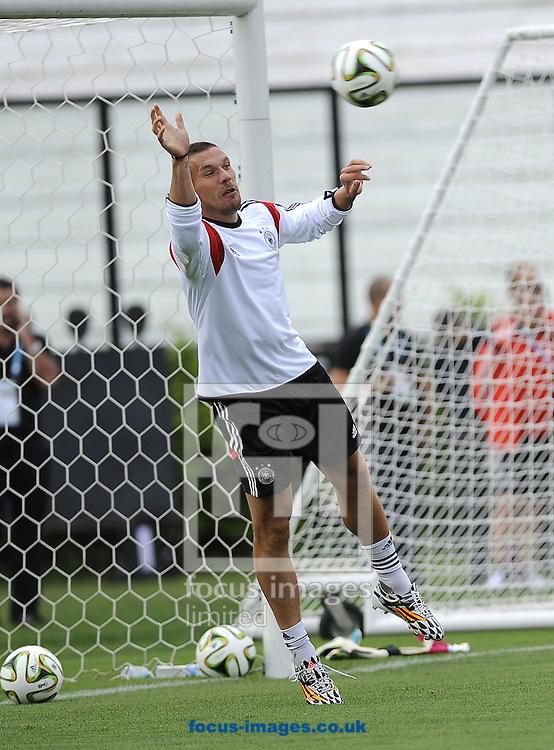 Lukas Podolski during Germany training at Maracana Stadium, Rio de Janeiro<br /> Picture by Stefano Gnech/Focus Images Ltd +39 333 1641678<br /> 12/07/2014