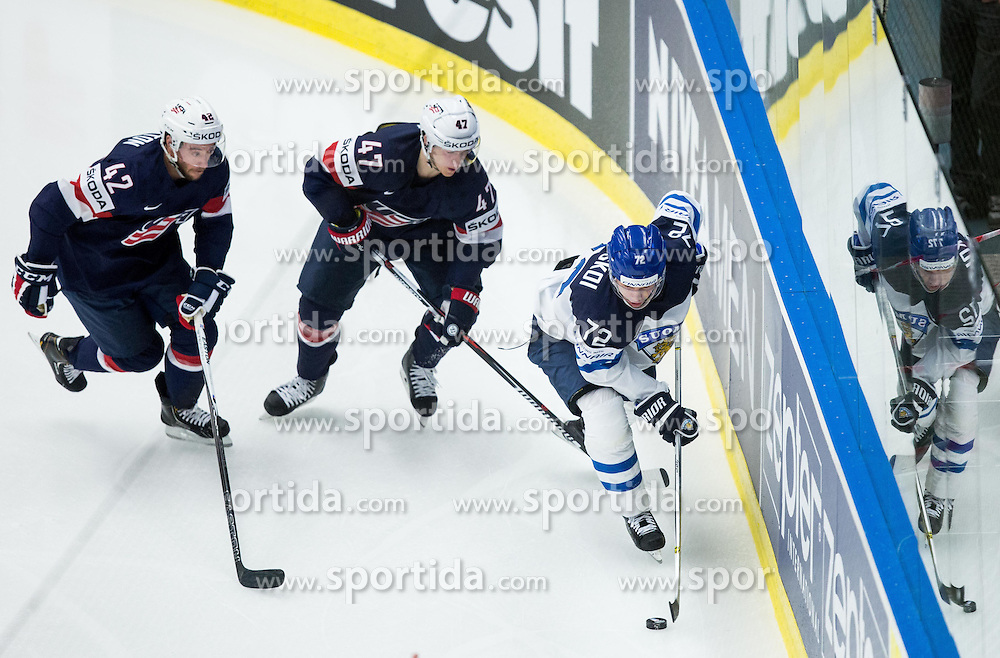 Dan Sexton of USA and Torey Krug of USA vs Joonas Donskoi of Finland  during Ice Hockey match between USA and Finland at Day 1 in Group B of 2015 IIHF World Championship, on May 1, 2015 in CEZ Arena, Ostrava, Czech Republic. Photo by Vid Ponikvar / Sportida