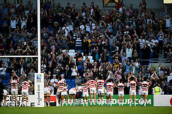 The Japanese team celebrate with the crowd after the final whistle - Mandatory byline: Patrick Khachfe/JMP - 07966 386802 - 19/09/2015 - RUGBY UNION - Brighton Community Stadium - Brighton, England - South Africa v Japan - Rugby World Cup 2015 Pool B.