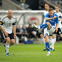 Rosenborg v St Johnstone....18.07.13  UEFA Europa League Qualifier.<br /> STEVEN MACLEAN HAS A SHOT AT GOAL<br /> Picture by Graeme Hart.<br /> Copyright Perthshire Picture Agency<br /> Tel: 01738 623350  Mobile: 07990 594431